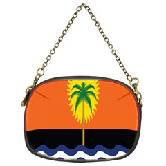 Coconut Tree Wave Water Sun Sea Orange Blue White Yellow Green Chain Purses (two Sides)  by Alisyart