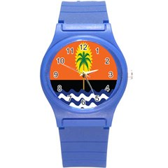 Coconut Tree Wave Water Sun Sea Orange Blue White Yellow Green Round Plastic Sport Watch (s) by Alisyart