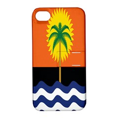 Coconut Tree Wave Water Sun Sea Orange Blue White Yellow Green Apple Iphone 4/4s Hardshell Case With Stand