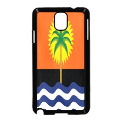 Coconut Tree Wave Water Sun Sea Orange Blue White Yellow Green Samsung Galaxy Note 3 Neo Hardshell Case (black)