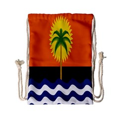 Coconut Tree Wave Water Sun Sea Orange Blue White Yellow Green Drawstring Bag (small) by Alisyart