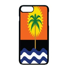 Coconut Tree Wave Water Sun Sea Orange Blue White Yellow Green Apple Iphone 7 Plus Seamless Case (black)