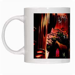 Fantasy Art Story Lodge Girl Rabbits Flowers White Mugs by Onesevenart