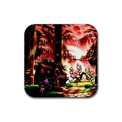 Fantasy Art Story Lodge Girl Rabbits Flowers Rubber Square Coaster (4 Pack)  by Onesevenart