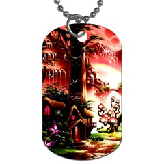 Fantasy Art Story Lodge Girl Rabbits Flowers Dog Tag (two Sides) by Onesevenart