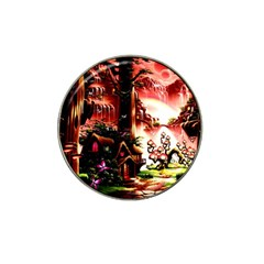 Fantasy Art Story Lodge Girl Rabbits Flowers Hat Clip Ball Marker by Onesevenart