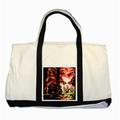 Fantasy Art Story Lodge Girl Rabbits Flowers Two Tone Tote Bag by Onesevenart