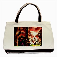Fantasy Art Story Lodge Girl Rabbits Flowers Basic Tote Bag (two Sides) by Onesevenart