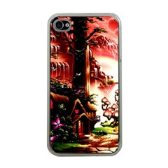 Fantasy Art Story Lodge Girl Rabbits Flowers Apple Iphone 4 Case (clear) by Onesevenart