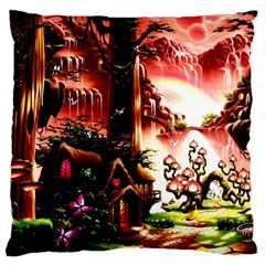 Fantasy Art Story Lodge Girl Rabbits Flowers Large Cushion Case (two Sides) by Onesevenart