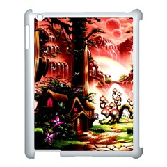 Fantasy Art Story Lodge Girl Rabbits Flowers Apple Ipad 3/4 Case (white) by Onesevenart
