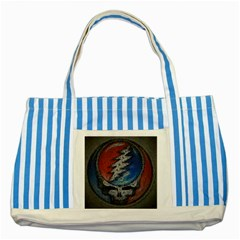 Grateful Dead Logo Striped Blue Tote Bag by Onesevenart