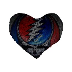Grateful Dead Logo Standard 16  Premium Flano Heart Shape Cushions by Onesevenart