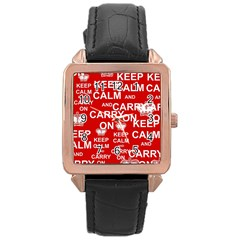 Keep Calm And Carry On Rose Gold Leather Watch  by Onesevenart