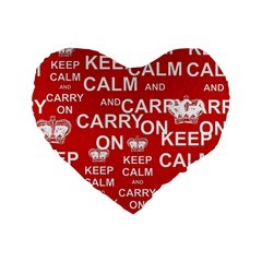 Keep Calm And Carry On Standard 16  Premium Flano Heart Shape Cushions by Onesevenart