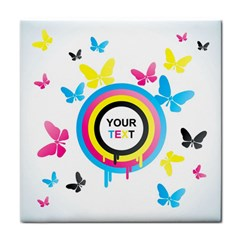 Colorful Butterfly Rainbow Circle Animals Fly Pink Yellow Black Blue Text Tile Coasters by Alisyart