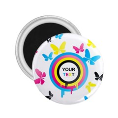 Colorful Butterfly Rainbow Circle Animals Fly Pink Yellow Black Blue Text 2 25  Magnets by Alisyart