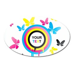 Colorful Butterfly Rainbow Circle Animals Fly Pink Yellow Black Blue Text Oval Magnet by Alisyart