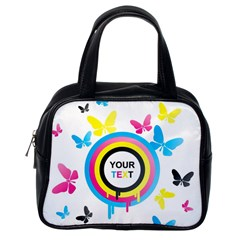 Colorful Butterfly Rainbow Circle Animals Fly Pink Yellow Black Blue Text Classic Handbags (one Side) by Alisyart