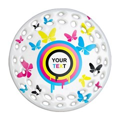 Colorful Butterfly Rainbow Circle Animals Fly Pink Yellow Black Blue Text Round Filigree Ornament (two Sides) by Alisyart