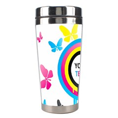 Colorful Butterfly Rainbow Circle Animals Fly Pink Yellow Black Blue Text Stainless Steel Travel Tumblers