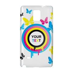 Colorful Butterfly Rainbow Circle Animals Fly Pink Yellow Black Blue Text Samsung Galaxy Note 4 Hardshell Case