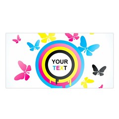 Colorful Butterfly Rainbow Circle Animals Fly Pink Yellow Black Blue Text Satin Shawl by Alisyart