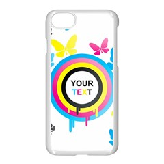Colorful Butterfly Rainbow Circle Animals Fly Pink Yellow Black Blue Text Apple Iphone 7 Seamless Case (white)