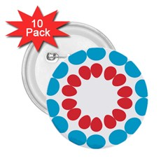 Egg Circles Blue Red White 2 25  Buttons (10 Pack)