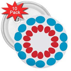 Egg Circles Blue Red White 3  Buttons (10 Pack)