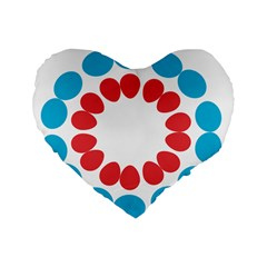 Egg Circles Blue Red White Standard 16  Premium Heart Shape Cushions by Alisyart
