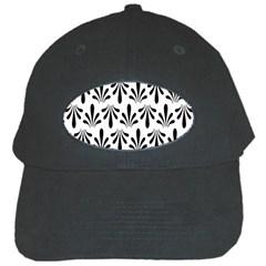 Floral Black White Black Cap by Alisyart