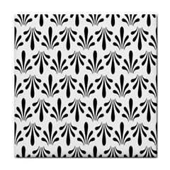 Floral Black White Tile Coasters