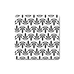 Floral Black White Square Magnet