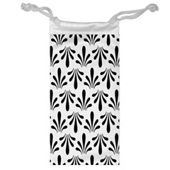 Floral Black White Jewelry Bag