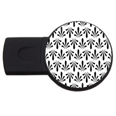 Floral Black White Usb Flash Drive Round (4 Gb) by Alisyart