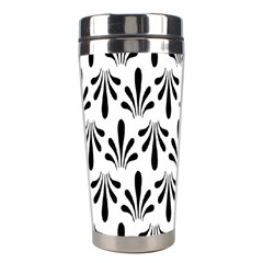 Floral Black White Stainless Steel Travel Tumblers by Alisyart