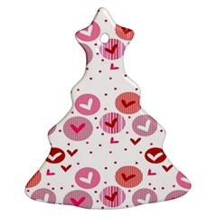 Crafts Chevron Cricle Pink Love Heart Valentine Ornament (christmas Tree)  by Alisyart