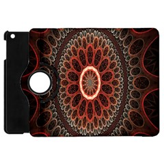 Circles Shapes Psychedelic Symmetry Apple iPad Mini Flip 360 Case by Alisyart