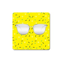 Glasses Yellow Square Magnet