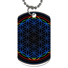 Flower Of Life Dog Tag (one Side) by Onesevenart