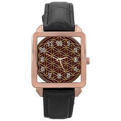 Flower Of Life Rose Gold Leather Watch  by Onesevenart