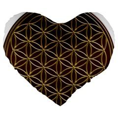 Flower Of Life Large 19  Premium Flano Heart Shape Cushions by Onesevenart