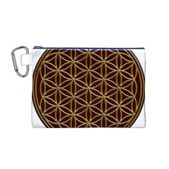 Flower Of Life Canvas Cosmetic Bag (m) by Onesevenart