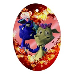 Ove Hearts Cute Valentine Dragon Oval Ornament (two Sides) by Onesevenart