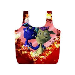 Ove Hearts Cute Valentine Dragon Full Print Recycle Bags (s)  by Onesevenart