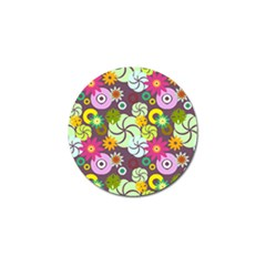 Floral Seamless Rose Sunflower Circle Red Pink Purple Yellow Golf Ball Marker by Alisyart