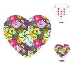 Floral Seamless Rose Sunflower Circle Red Pink Purple Yellow Playing Cards (heart)  by Alisyart