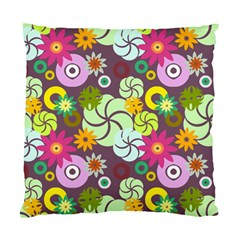 Floral Seamless Rose Sunflower Circle Red Pink Purple Yellow Standard Cushion Case (one Side)