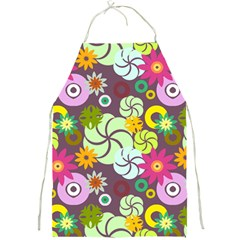 Floral Seamless Rose Sunflower Circle Red Pink Purple Yellow Full Print Aprons by Alisyart